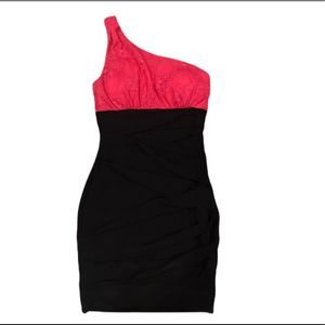B Darlin One Shoulder Ruched Cocktail Dress Small